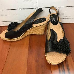 b.o.c. Born Concept Black Leather Wedge Sandals